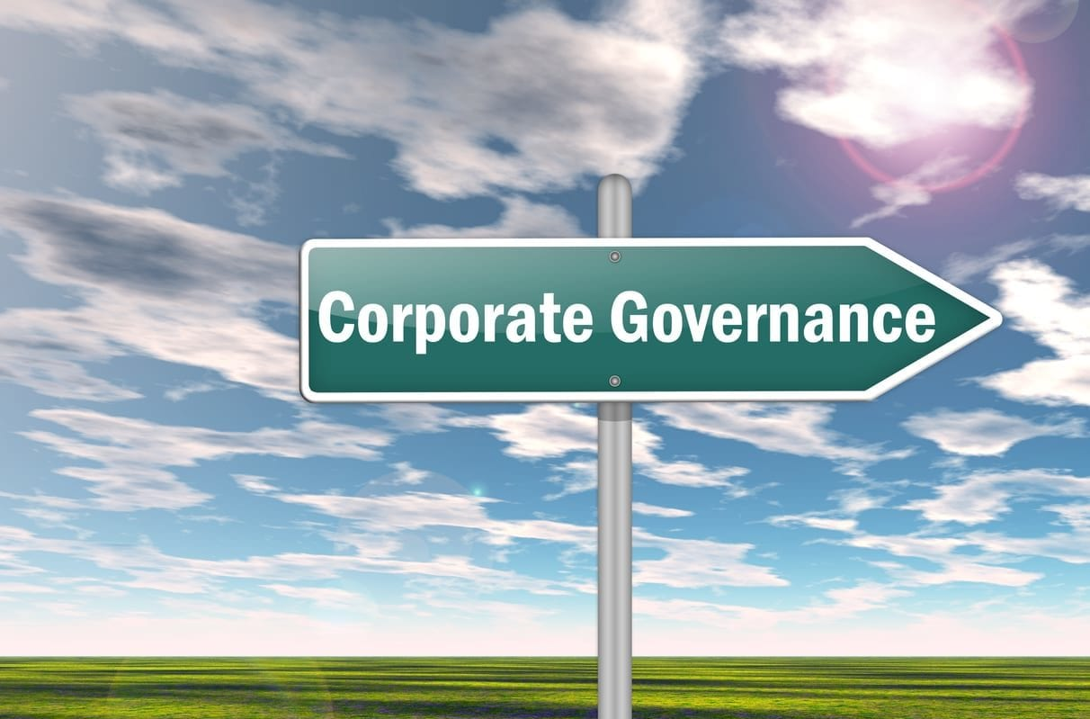 Signpost with Corporate Governance wording